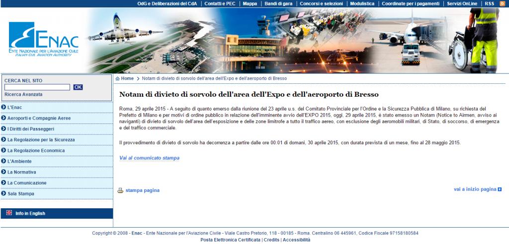 Notam di divieto di sorvolo dell'area dell'Expo e dell'aeroporto di Bresso