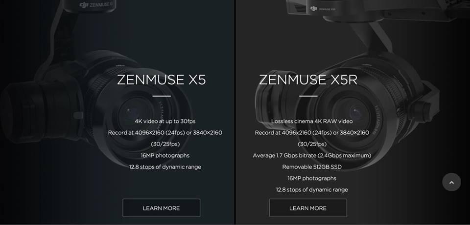 Differenze Zenmuse X5 X5R