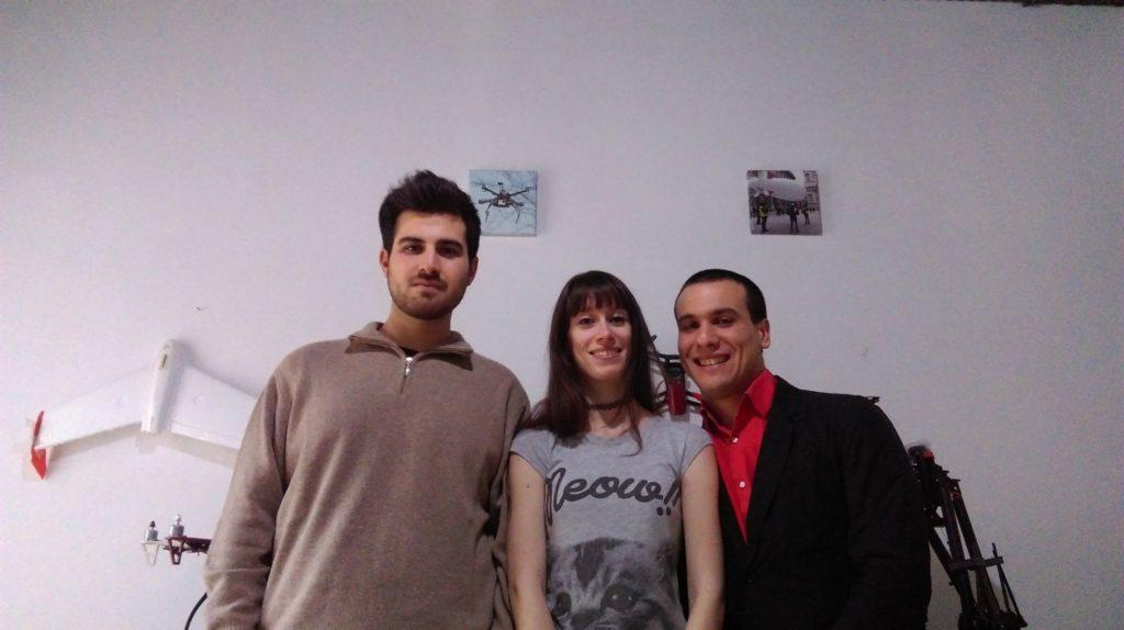 In foto il team che ha lavorato al prototipo di Tsubasa V3. A partire da sinistra: Riccardo Rigamonti, Noemi Salaris e Andrea Zamuner Cervi.