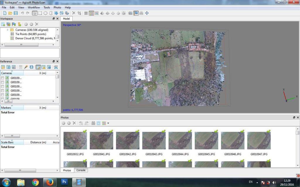 Generazione di dense cloud partendo dalle foto scattate da Tsubasa, Ala fissa sotto i 300g con GoPro Hero 5 Session!